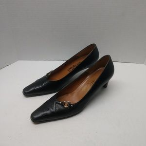 Salvatore Ferragamo Black Snakeskin Pumps 8 AA